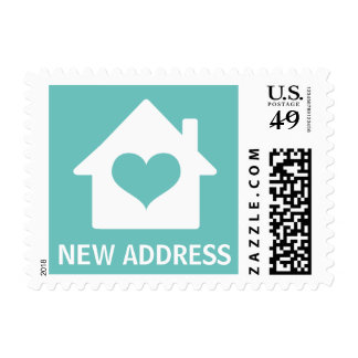 House on ocean blue background change of address stamps
