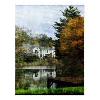 House on Pond With Autumn Trees Postcard