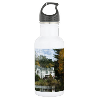House on Pond With Autumn Trees Stainless Steel Water Bottle