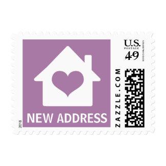 House on purple background change of address postage