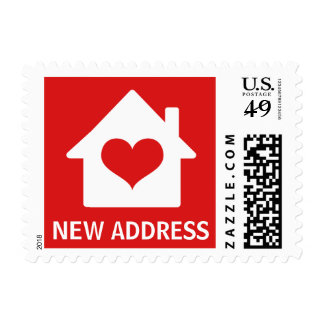 House on red background change of address postage