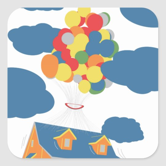 House on sky square sticker