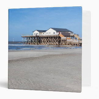 House on stilts at the beach of St. Peter Ording 3 Ring Binder