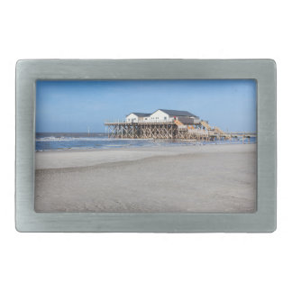 House on stilts at the beach of St. Peter Ording Belt Buckle