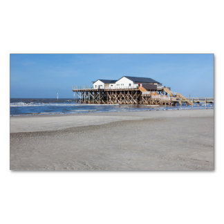 House on stilts at the beach of St. Peter Ording Business Card Magnet