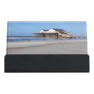House on stilts at the beach of St. Peter Ording Desk Business Card Holder