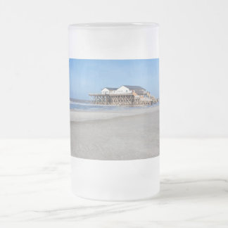House on stilts at the beach of St. Peter Ording Frosted Glass Beer Mug