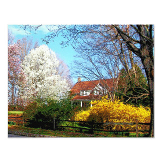"""House on the Hill in Spring 4.25"""" X 5.5"""" Invitation Card"""