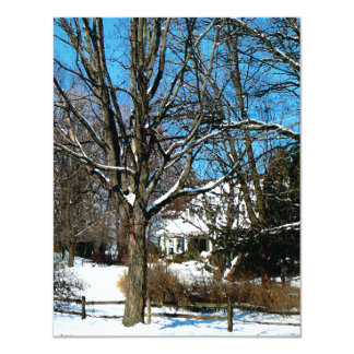 House on the Hill in Winter Card