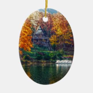 House on the Lake Ceramic Ornament