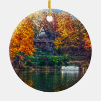 House on the Lake Ceramic Ornament