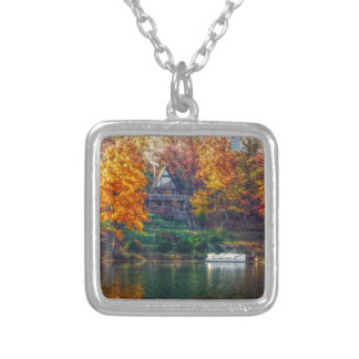 House on the Lake Silver Plated Necklace