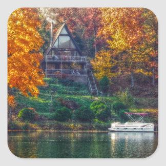 House on the Lake Square Sticker