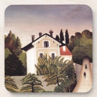 House on the Outskirts of Paris by Henri Rousseau Beverage Coaster