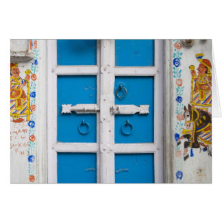 House painted blue, Udaipur, Rajasthan, India Greeting Card