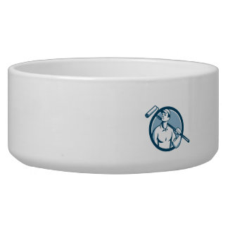 House Painter Holding Paint Roller Circle Retro Dog Water Bowls