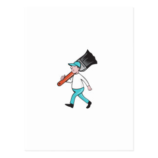 House Painter Paintbrush Walking Cartoon Postcard