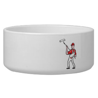House Painter With Paint Roller Cartoon Pet Water Bowls