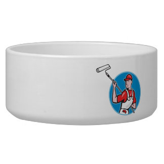 House Painter With Paint Roller Cartoon Pet Food Bowl