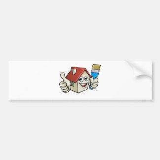 House Painting Cartoon Character Bumper Sticker