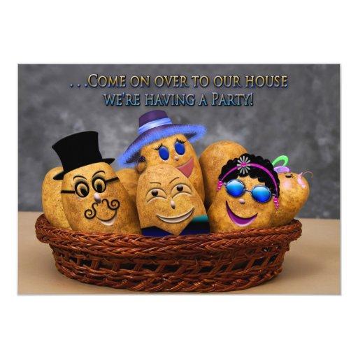 "HOUSE PARTY INVITATION - MULTI USE - POTATO FAMILY 5"" X 7"" INVITATION CARD"