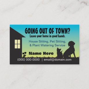 Pet business cards zazzle house pet sitting plant watering business card colourmoves