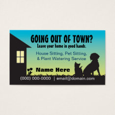 House / Pet Sitting & Plant Watering Business Card at Zazzle