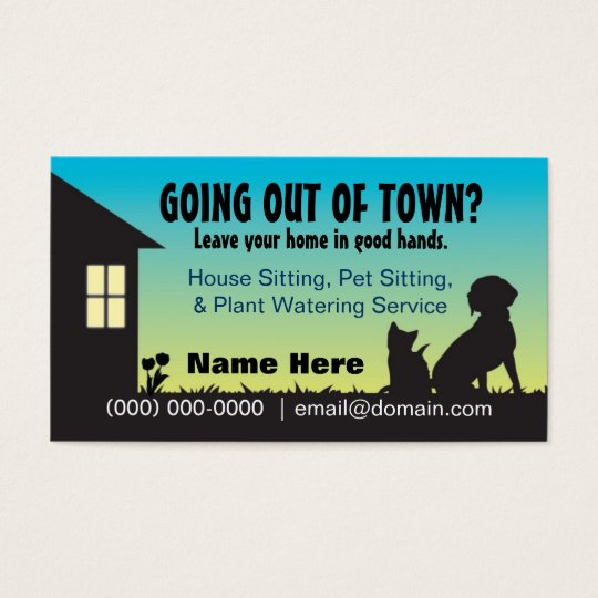 House Pet Sitting Plant Watering Business Card