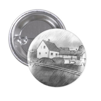 House photo drawing 1 inch round button