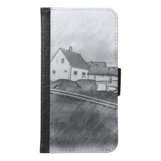 House photo drawing samsung galaxy s6 wallet case
