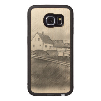 House photo drawing wood phone case