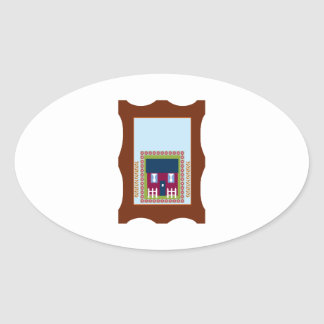 House Picture Oval Stickers