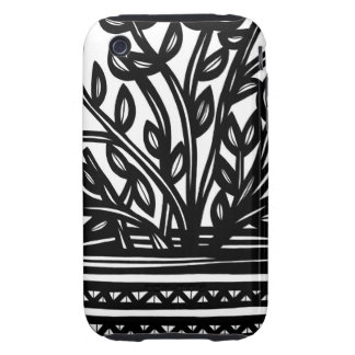 House Plane Leaves Black and White iPhone 3 Tough Case