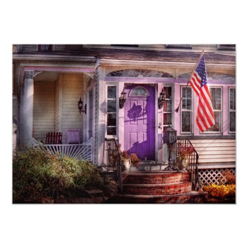 House - Porch - Cranford, NJ - Lovely in Lavender 5x7 Paper Invitation Card