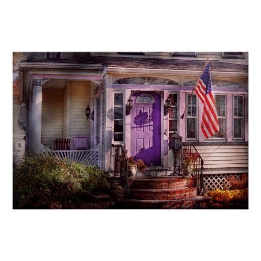 House - Porch - Cranford, NJ - Lovely in Lavender Poster