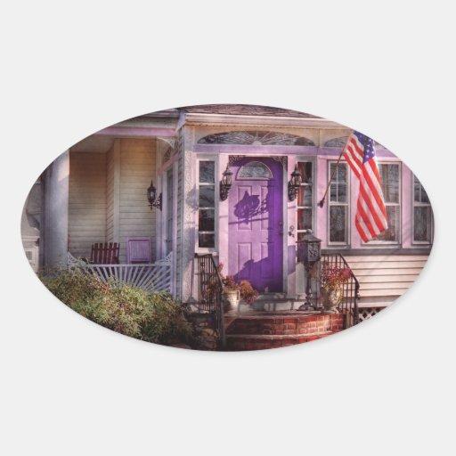 House - Porch - Cranford, NJ - Lovely in Lavender Oval Sticker
