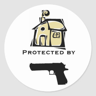 House Protected By Gun Classic Round Sticker