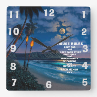 HOUSE RULES AND BEAUTIFUL SCENE SQUARE WALL CLOCK