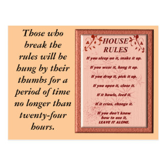 House rules - postcard