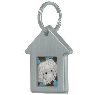 House shaped Dog Tag with image of dog Pet ID Tag