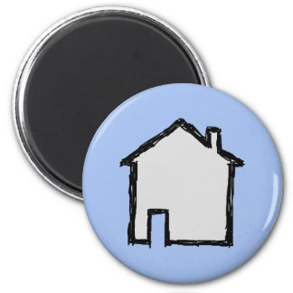 House Sketch. Black and Blue. 2 Inch Round Magnet