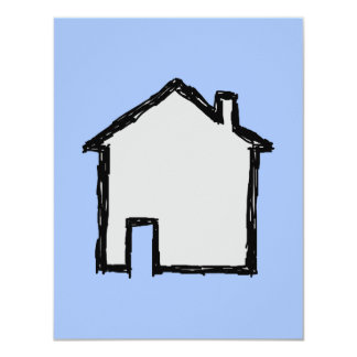 House Sketch. Black and Blue. 4.25x5.5 Paper Invitation Card