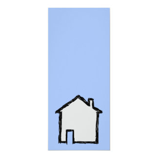 House Sketch. Black and Blue. 4x9.25 Paper Invitation Card