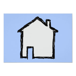 House Sketch. Black and Blue. 5x7 Paper Invitation Card