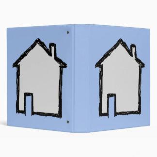 House Sketch Black and Blue Vinyl Binders