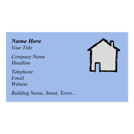 House Sketch. Black and Blue. Business Card Template