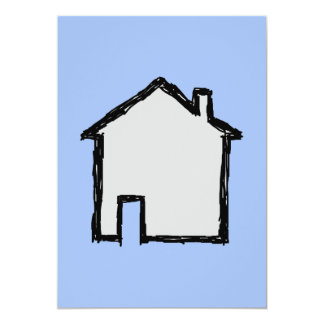 House Sketch. Black and Blue. Card