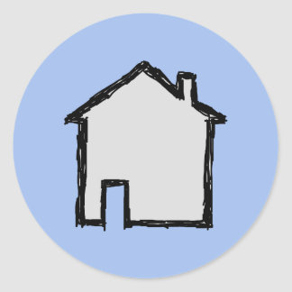 House Sketch. Black and Blue. Classic Round Sticker