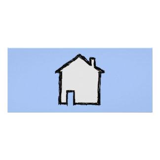 House Sketch. Black and Blue. Custom Rack Cards