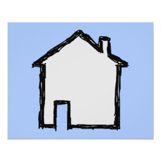 House Sketch. Black and Blue. Custom Flyer